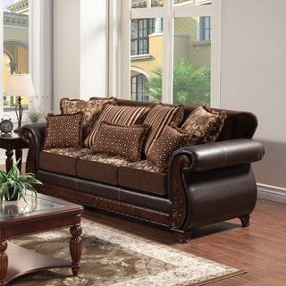Furniture Of America Franchesca Traditional Style Chenille Fabric And Leather Sofa