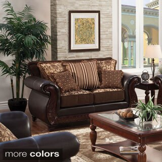 Furniture of America Franchesca Traditional Style Fabric and Leatherette Loveseat
