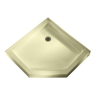 American Standard Neo Angle Shower Base, Integral Water Retention and Tiling Flange, Shower Drain, Bone