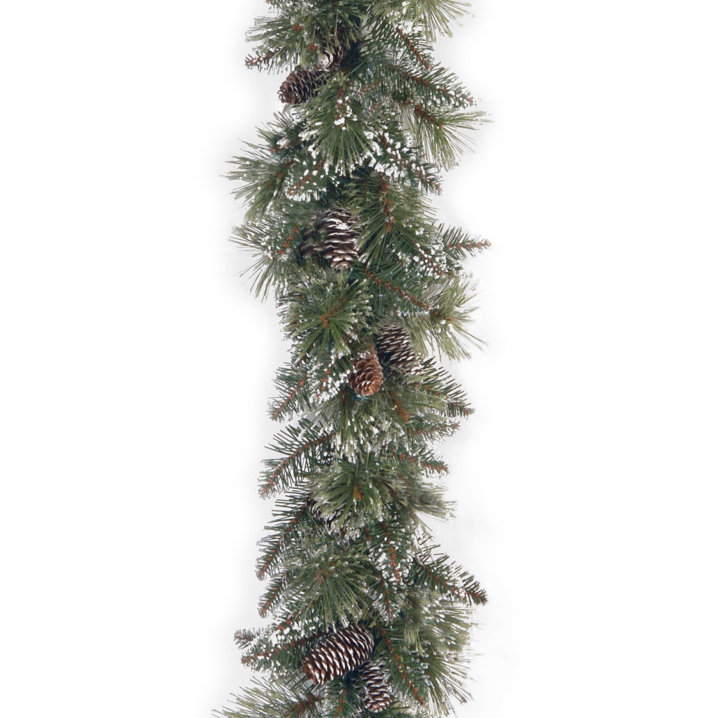 "National Tree 6' x 10"" Glittery Bristle Pine Garland with..."