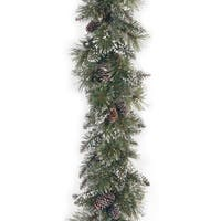 "6' x 10"" Glittery Bristle Pine Garland with Cones"