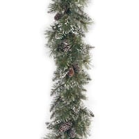 """6' x 10"""" Glittery Bristle Pine Garland with Cones"""