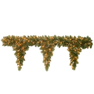 6-foot Glittery Bristle Pine Teardrop Garland with 3 Drops with 100 Clear Lights