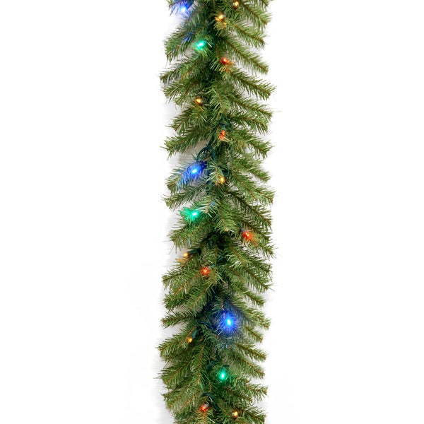 """Shop 9' X 10"""" Norwood Fir Garland With 50 Low Voltage 4"""