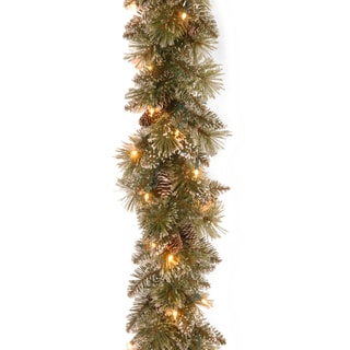 "9' x 10"" Glittery Bristle Pine Garland with 50 Clear Lights"