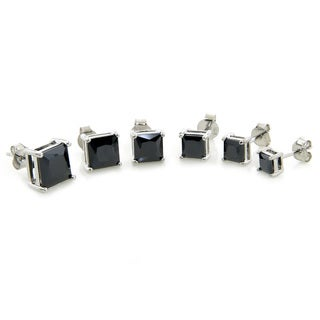Eternally Haute Sterling Silver Princess-cut Black Cubic Zirconia Stud Earrings