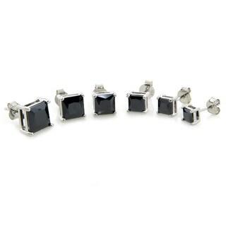 Eternally Haute Sterling Silver Princess-cut Black Cubic Zirconia Stud Earrings