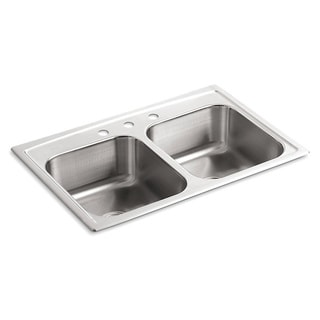 Kohler Toccata Double Equal Self-rimming Stainless Steel 33 x 22 x 8.1875 3-hole Double Bowl Kitchen Sink