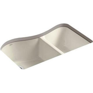 Kohler Lawnfield Undercounter Cast Iron 33 x 22 x 9.625 4-hole Kitchen Sink in Almond