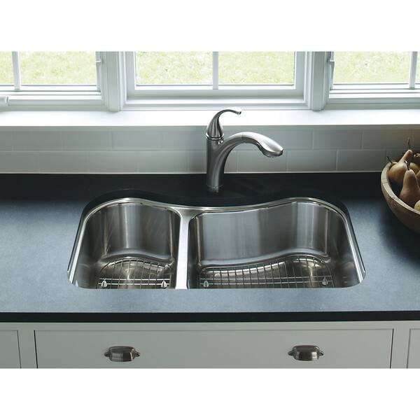 Kohler Staccato Offset Undercounter Stainless Steel 31.625 x 19.5625 x 8  0-hole Double Bowl Kitchen Sink
