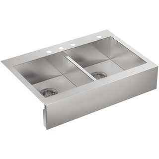 Kohler Vault Top-Mount Stainless Steel 35.75 x 24.313 x 9.313 4-hole Double Bowl Kitchen Sink