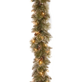 """6' x 10"""" Glittery Bristle Pine Garland with50 Battery Operated Soft White LED Lights"""
