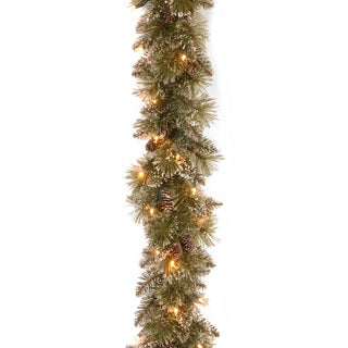 "6' x 10"" Glittery Bristle Pine Garland with50 Battery Operated Soft White LED Lights"