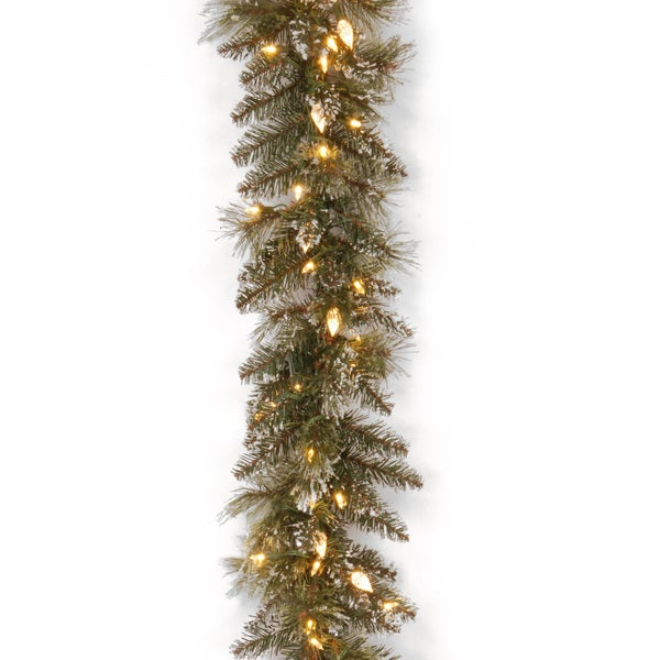"9' x 10"" Glittery Bristle Pine Garland with 100 Soft White LED Lights"
