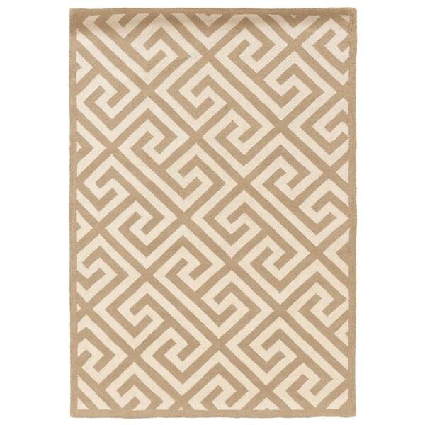 Linon Silhouette Beige/ White Area Rug (1'10 x 2'10) - 1'10 x 2'10