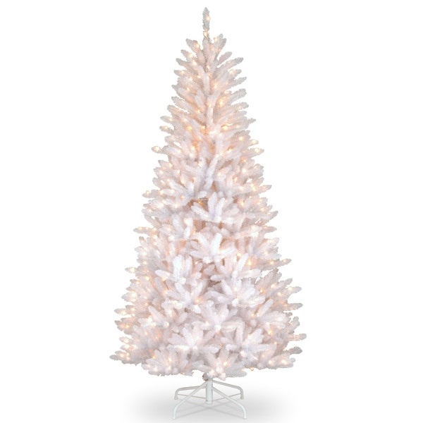 7 5 Foot Dunhill White Iridescent Tree With 600 Clear