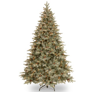 """7.5-foot """"Feel Real"""" Frosted Arctic Spruce Hinged Tree with Cones and 750 Clear Lights"""