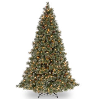 7.5-foot Glittery Bristle Pine Hinged Tree with White Tipped Cones and 750 Clear Lights