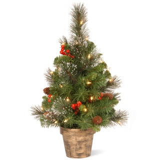 2-foot Crestwood Spruce Tree with Clear Lights