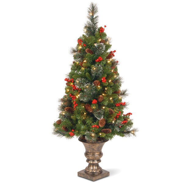 4-foot Crestwood Spruce Entrance Tree with Clear Lights