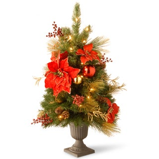 3-foot Decorative Collection Home Spun Entrance Tree with Clear Lights