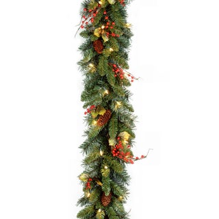 Classical Collection 9-foot Garland with Red Berries, Cones, Holly Leaves and 50 Clear Lights