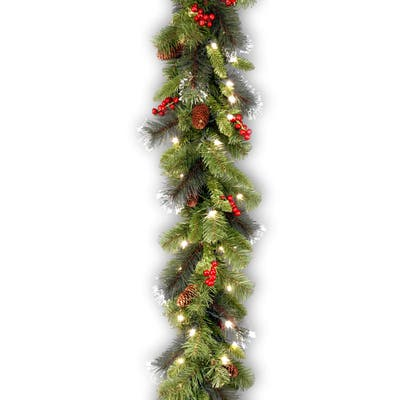 9-foot Spruce Garland with Silver Bristle, Cones, Red Berries and Glitter with 50 Clear Lights - Green