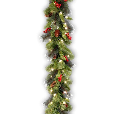 Crestwood 9-foot Pre-lit Spruce Garland with Silver Bristles, Cones, Red Berries and Glitter