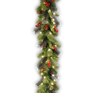 Pre-lit Crestwood 9-foot Spruce Garland with Silver Bristles, Cones, Red Berries, Glitter and LED Lights