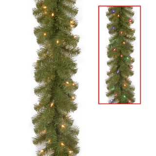 "9' x 10"" North Valley Spruce Garland with 50 Dual LED Lights"