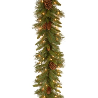 "9' x 10"" Pine Cone Garland with 50 Clear Lights"