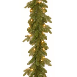 "9' x 10"" "" Feel Real"" Avalon Spruce Garland with 50 Clear Lights"
