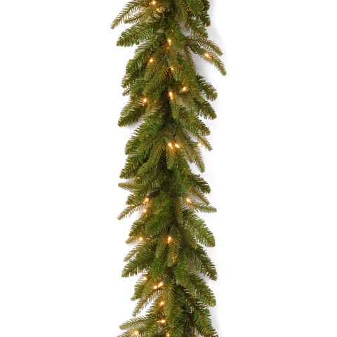 "9' x 10"" ""Feel-Real"" Fraser Grande Garland with 100 Clear Lights"