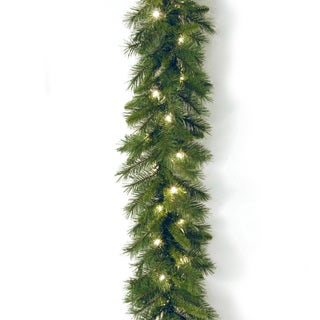 Pre-lit 9-foot WCH7-300-9A-1 Winchester Pine Garland with Clear Lights