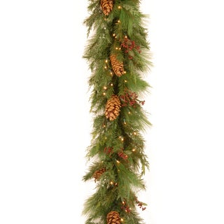 Pre-lit 6-foot WHP13-300L-6B-1 White Pine Garland with Pine Cones and 100 Warm White LED Lights