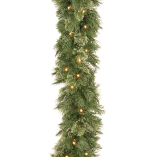 Wispy Willow WO1-9ALO Grande White 9-foot Garland with Silvertone Glitter and 50 Clear Lights