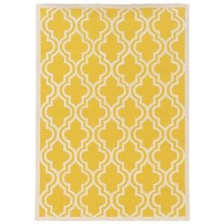 Linon Silhouette Yellow/ White Area Rug (1'10 x 2'10)