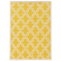 Linon Silhouette Yellow/ White Area Rug (1'10 x 2'10)