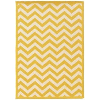 Linon Silhouette Yellow/ White Area Rug (5' x 7')