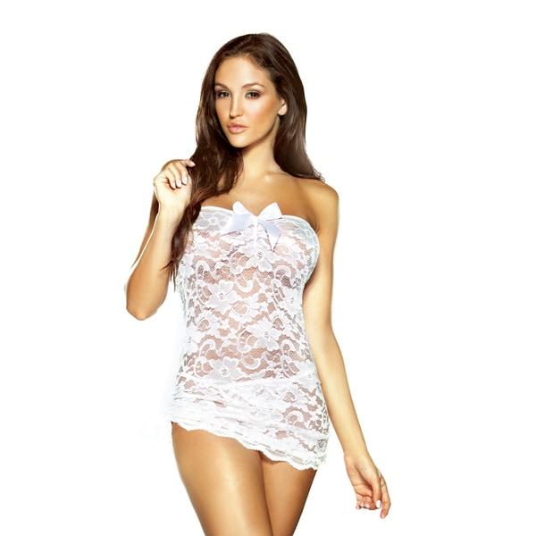 Fantasy Lingerie Women S White Floral Lace Strapless Dress With Matching G String And Adjustable
