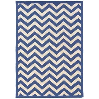 Linon Silhouette Navy/ White Area Rug (8' x 10')