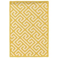Linon Silhouette Yellow/ White Area Rug (8' x 10')