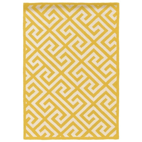 Linon Silhouette Yellow/ White Area Rug (8' x 10')