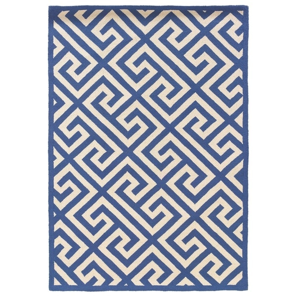 shop linon silhouette navy white area rug 5 39 x 7 39 free shipping today 9426473. Black Bedroom Furniture Sets. Home Design Ideas