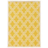 Linon Silhouette Lattice Print Yellow/ White Area Rug (5' x 7')