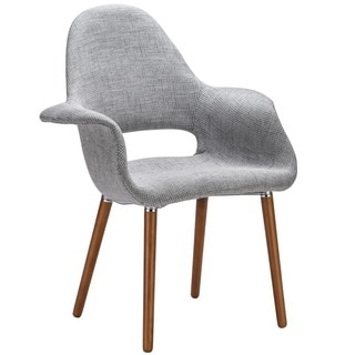 Poly and Bark The Barclay Light Grey Organic Style Dining Arm Chair
