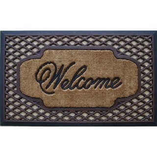 First Impression Rubber/ Coir Brush Welcome Doormat