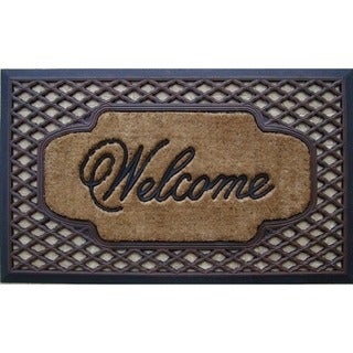 First Impression Rubber/ Coir Brush Welcome Doormat (Option: Natural)