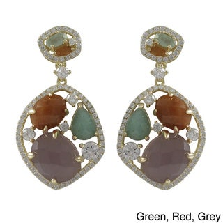 Luxiro Gold Over Sterling Silver Multicolored Semi-precious Stone and Cubic Zirconia Earrings