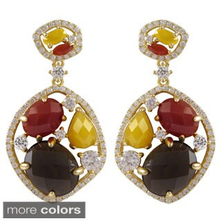 Luxiro Gold Over Sterling Silver Multicolored Semi-precious Stone and Cubic Zirconia Earrings